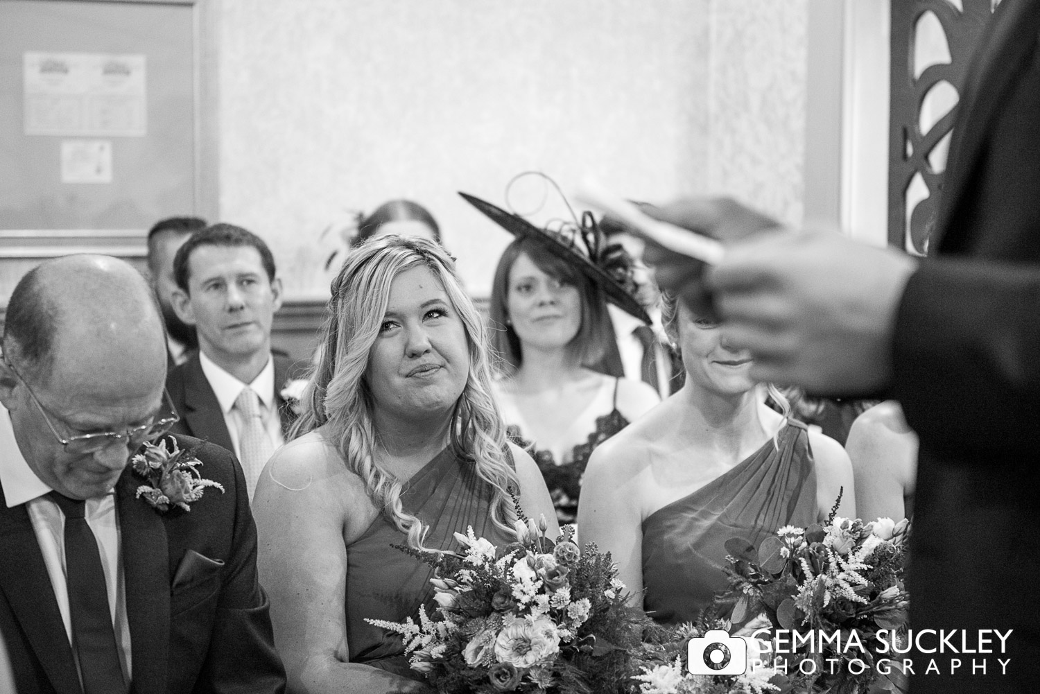 bridesmaid watching her best friend wed at grassington house