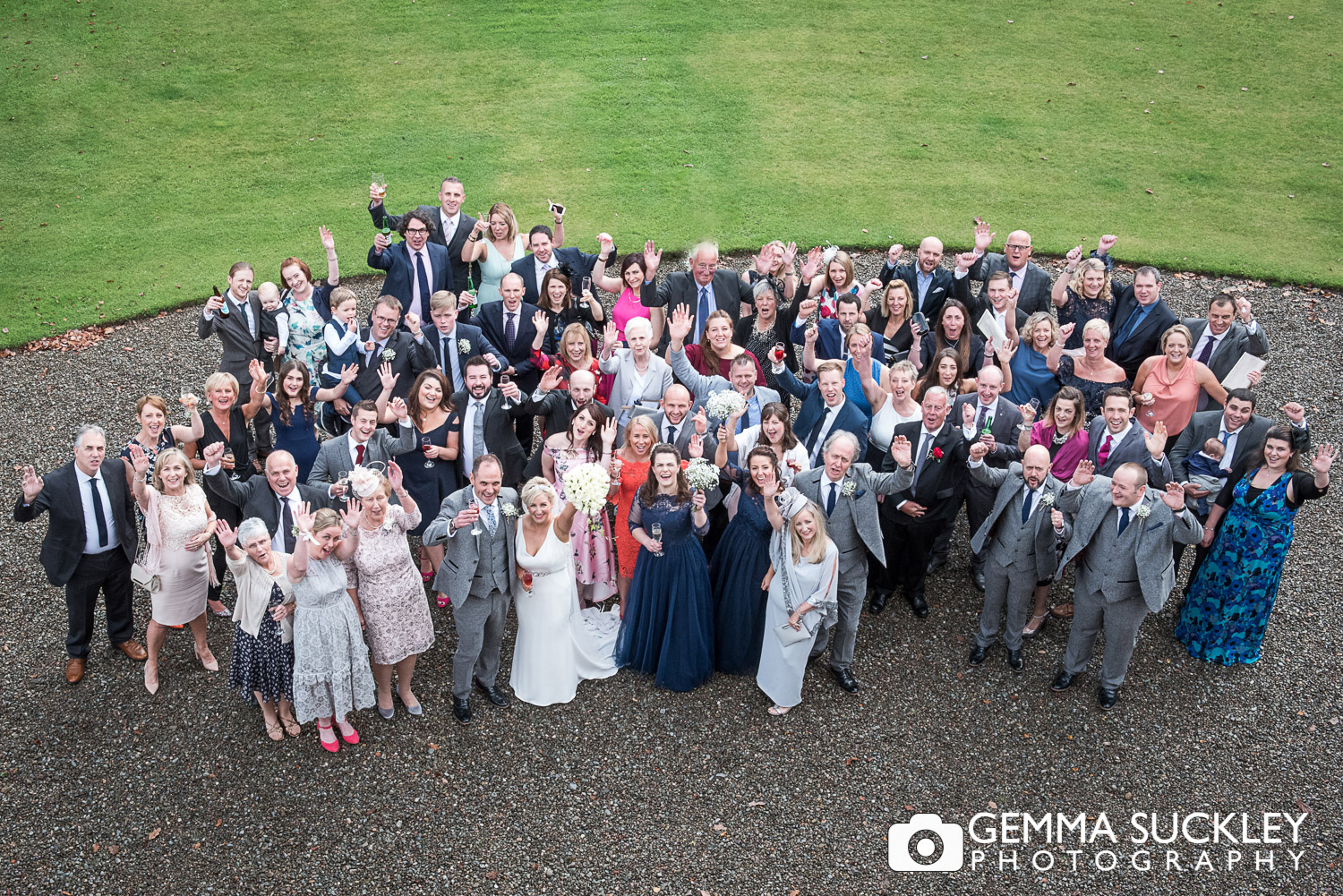 group wedding photo at belmount hall