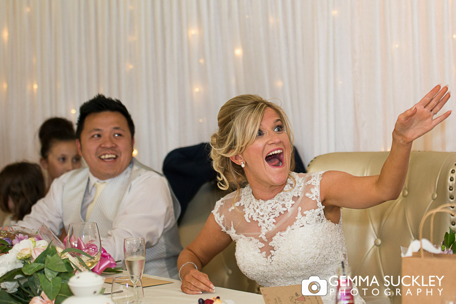 bride laughing at speeches at moorlands inn, halifax