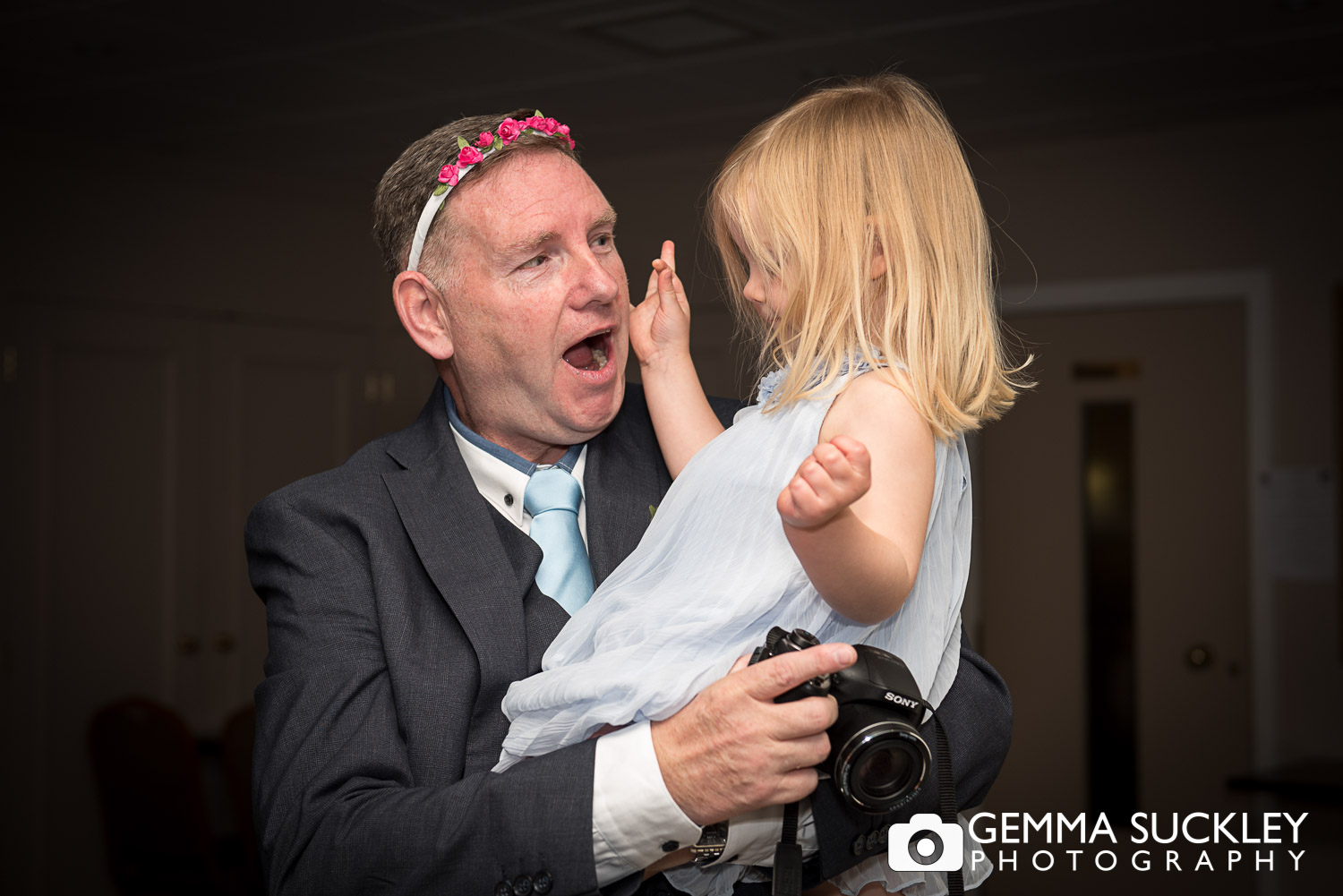 man with his granddaughter st ive bingley wedding
