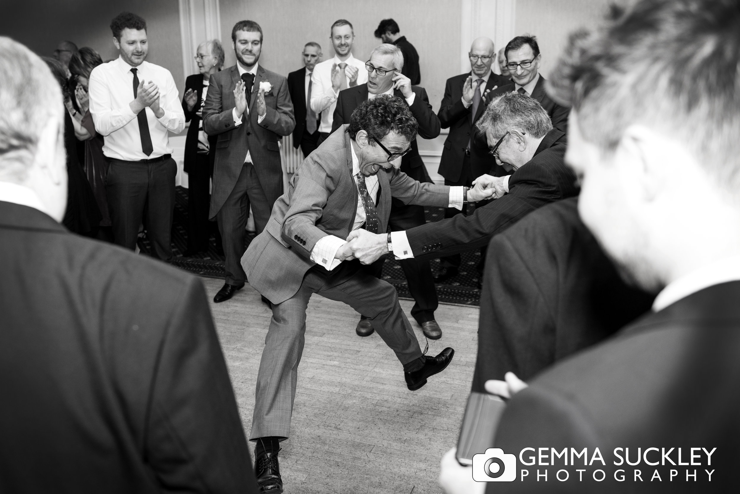 wedding guest dancing at a Jewish wedding at swan hotel in Harrogate