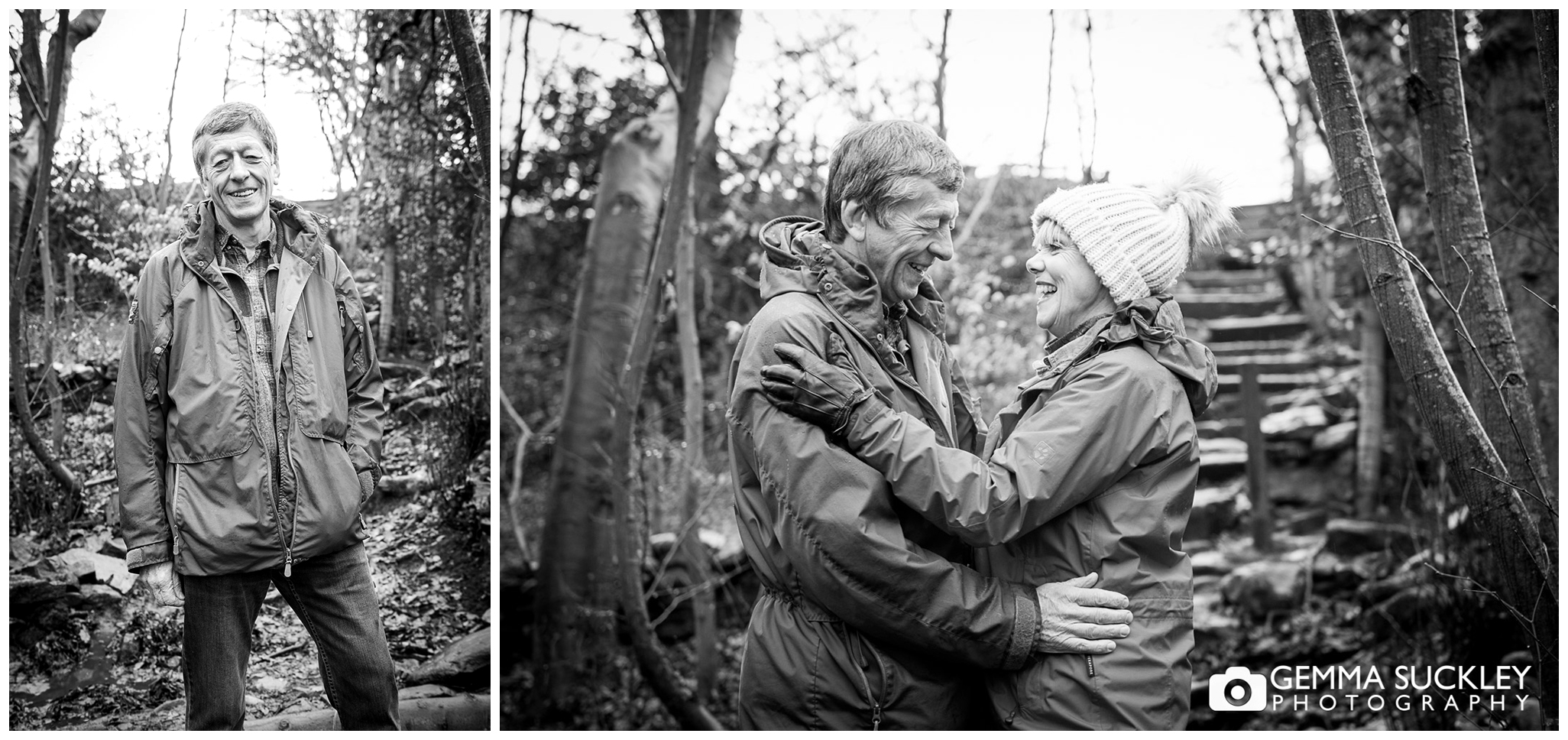 couple hugging during pre-wedding photo shoot in skipton