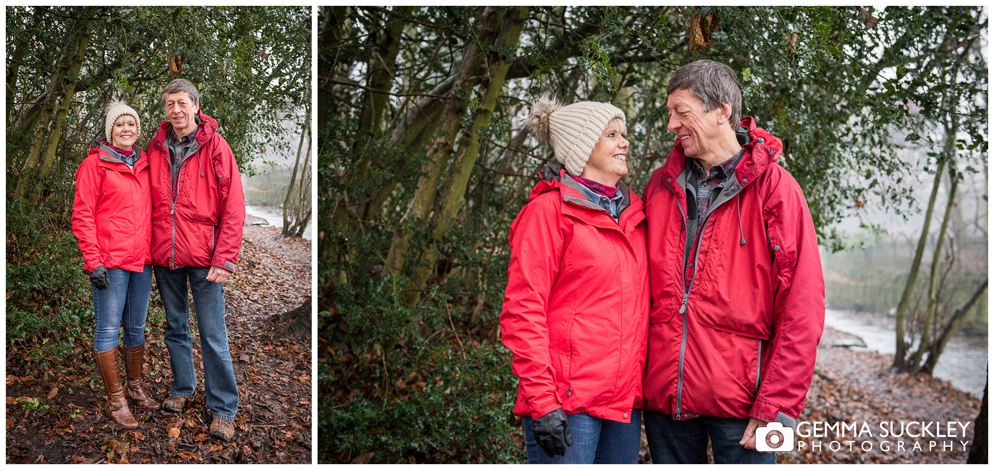 couple smiling in the woods, Yorkshire photo shoot