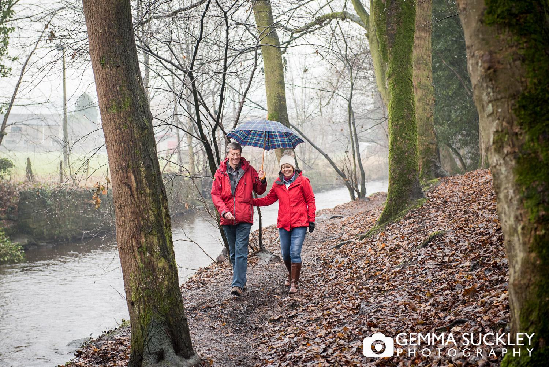 couple with umbrella during skipton photo shoot