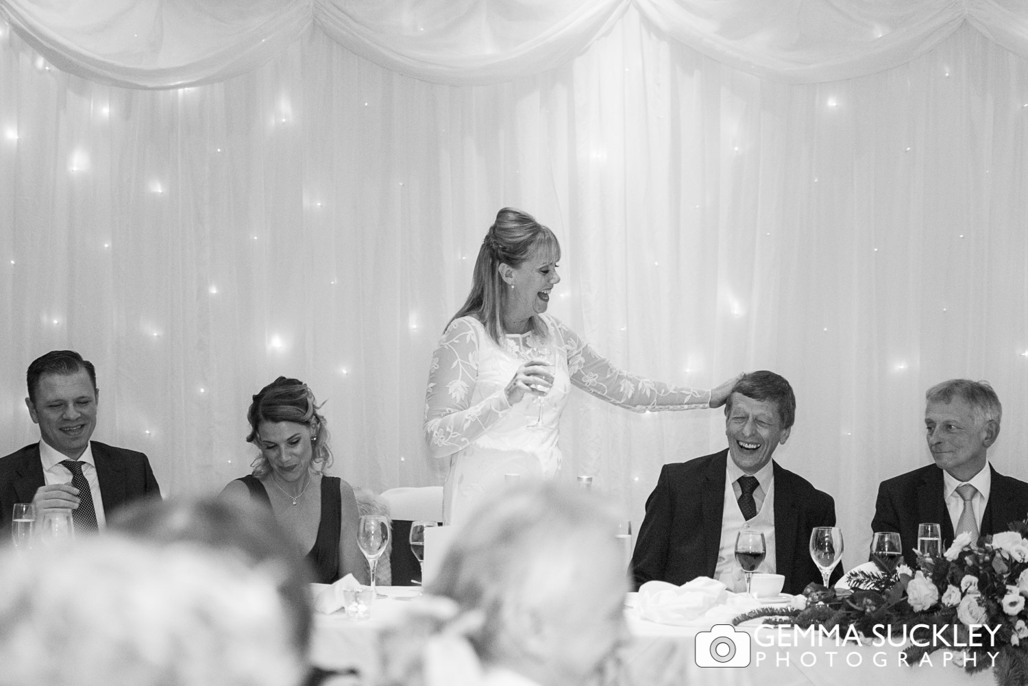 Bride during her speech at the Devonshire Arms