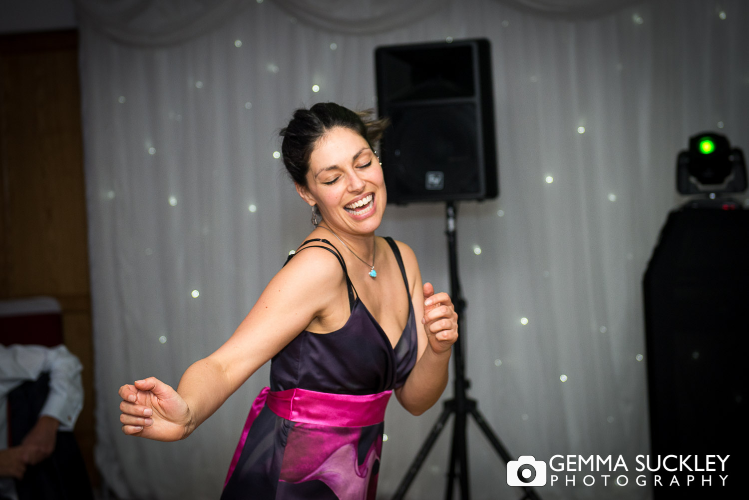 wedding guest dancing at the Devonshire arms in Bolton Abbey