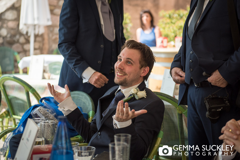 Groom at Lake Garda wedding