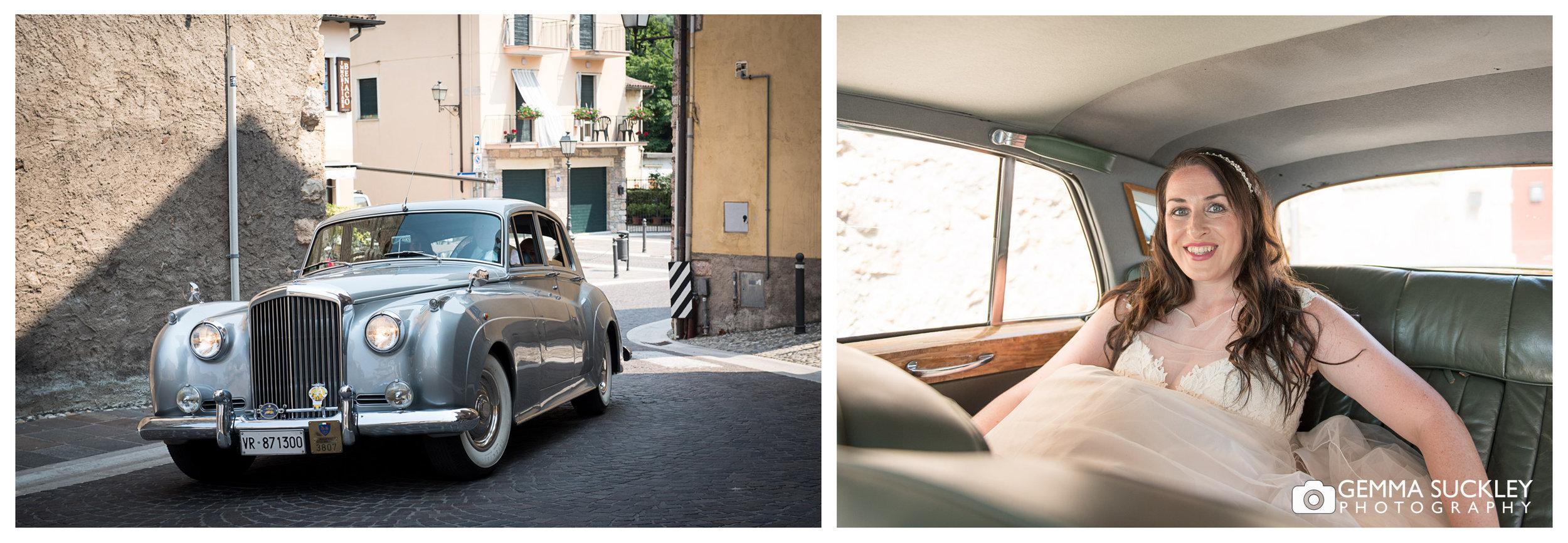 bride arriving in the wedding car in Lake Garda