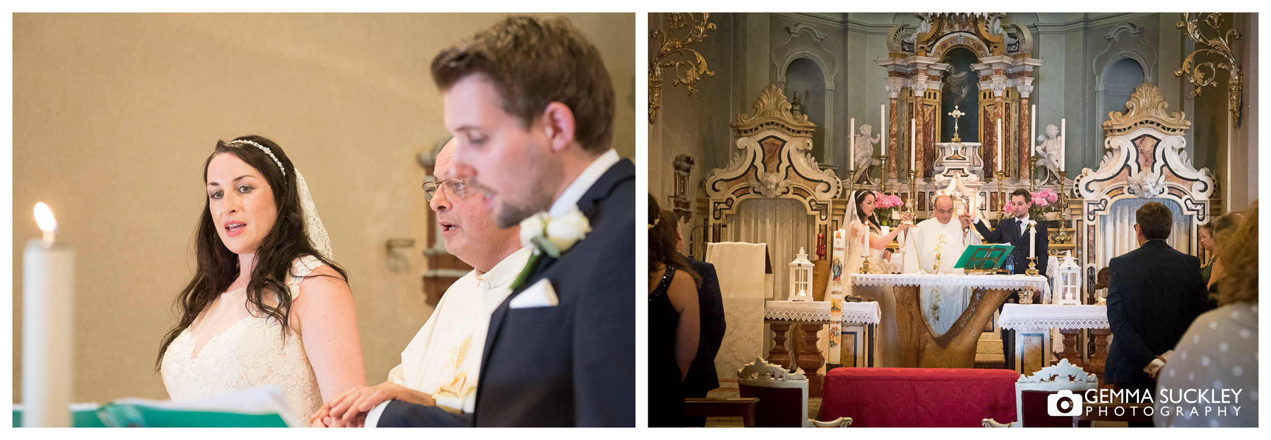 Yorkshire bride and groom at the alter in Italian church