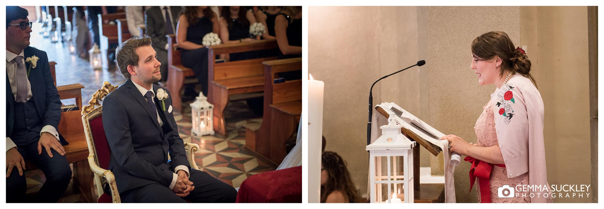 wedding reading in Lake Garda Church
