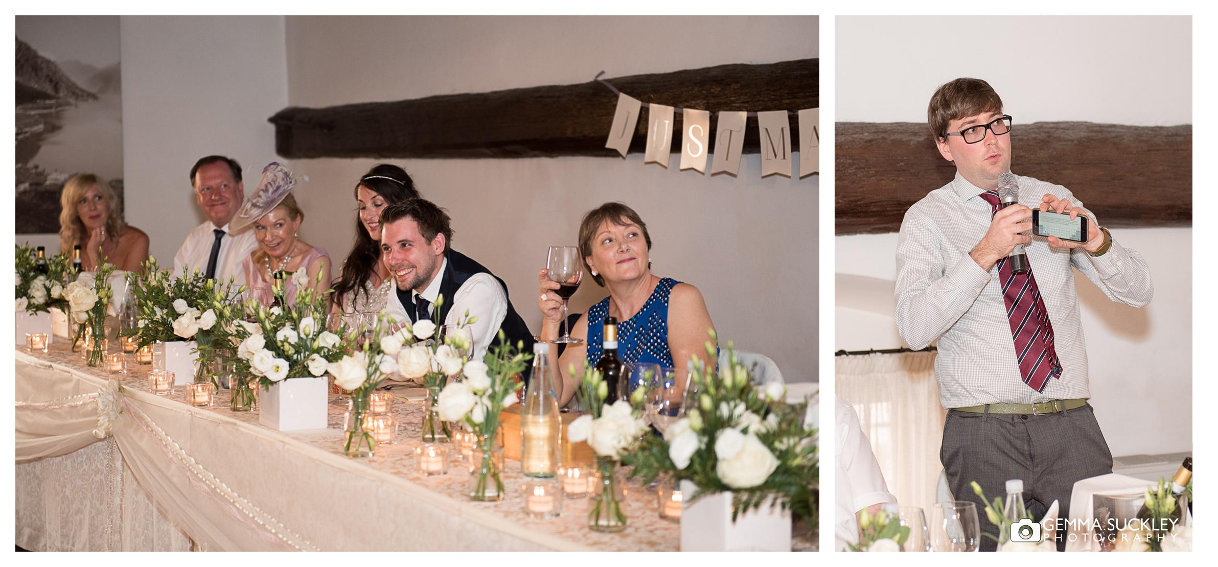 Bestman making his wedding speech