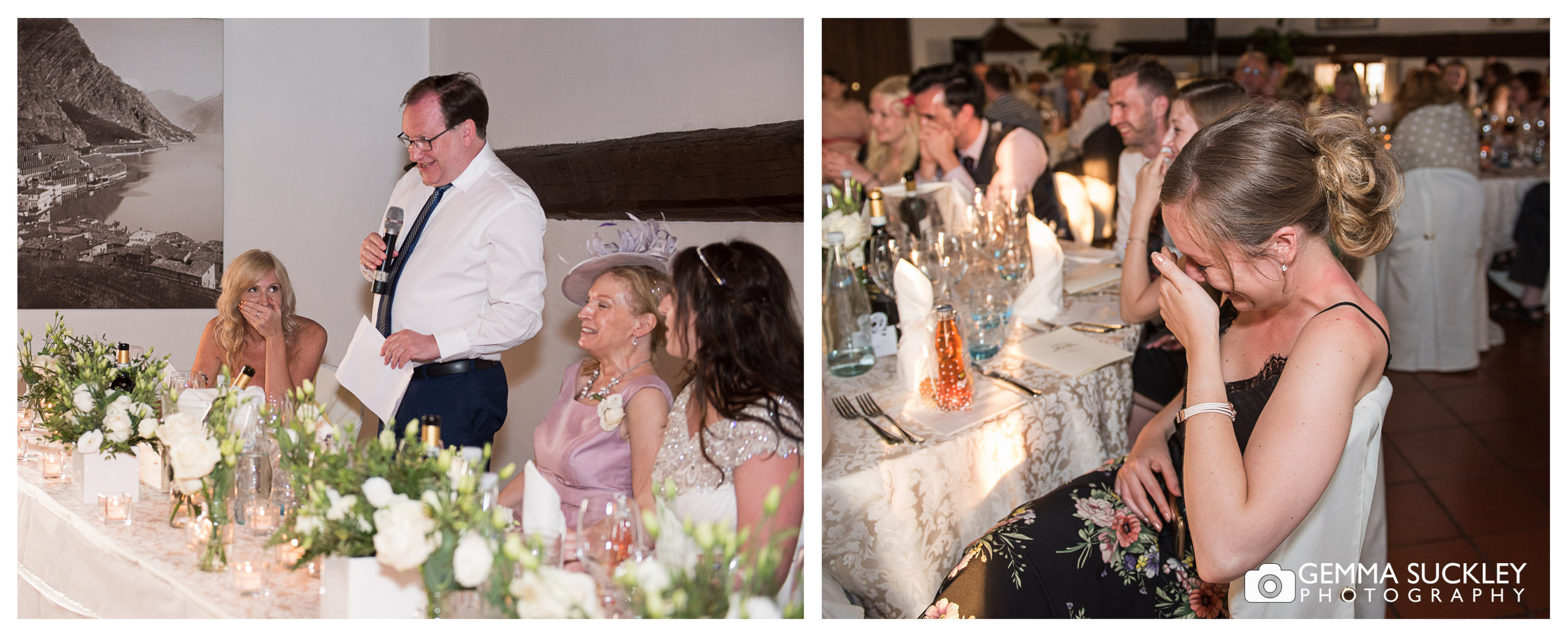 guests look embarrassed during wedding speeches