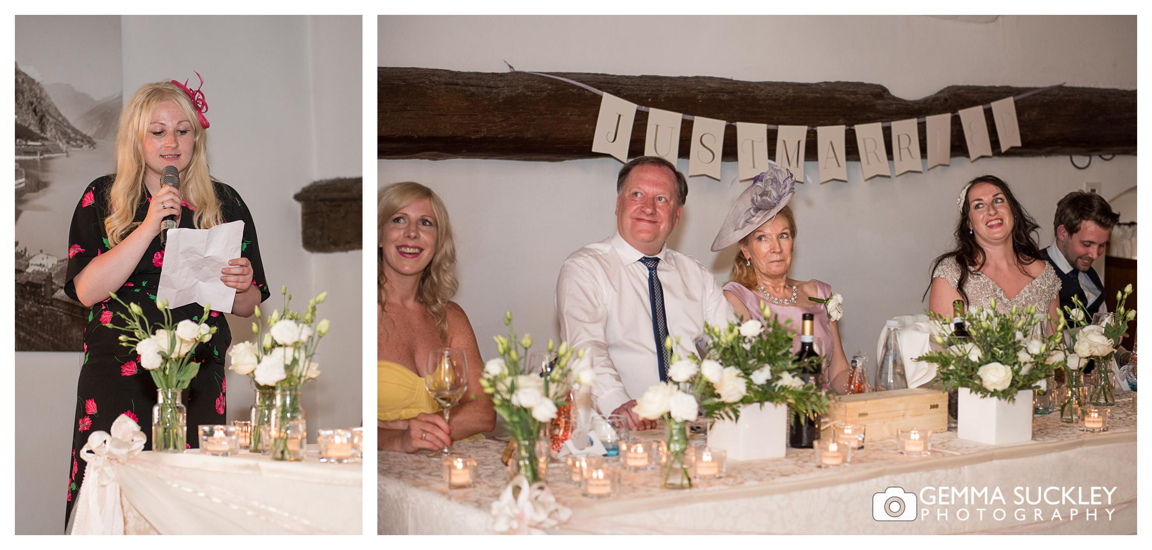 speeches during wedding in Lake Garda