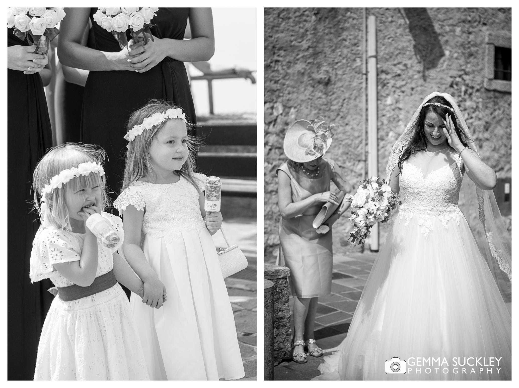 flower girls watching the bride arrive