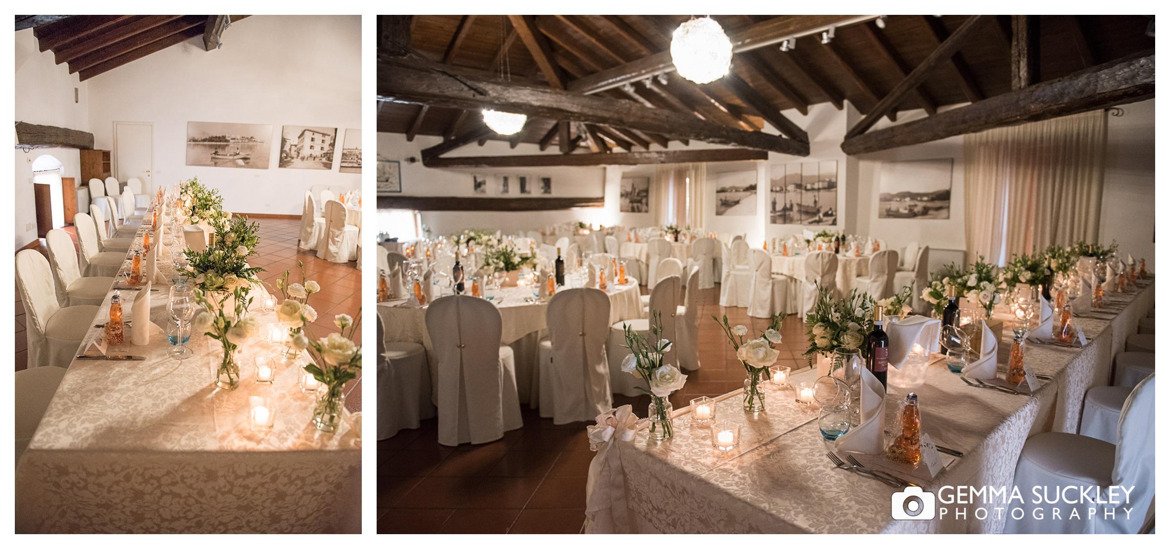 table detail at lake garda, italy wedding