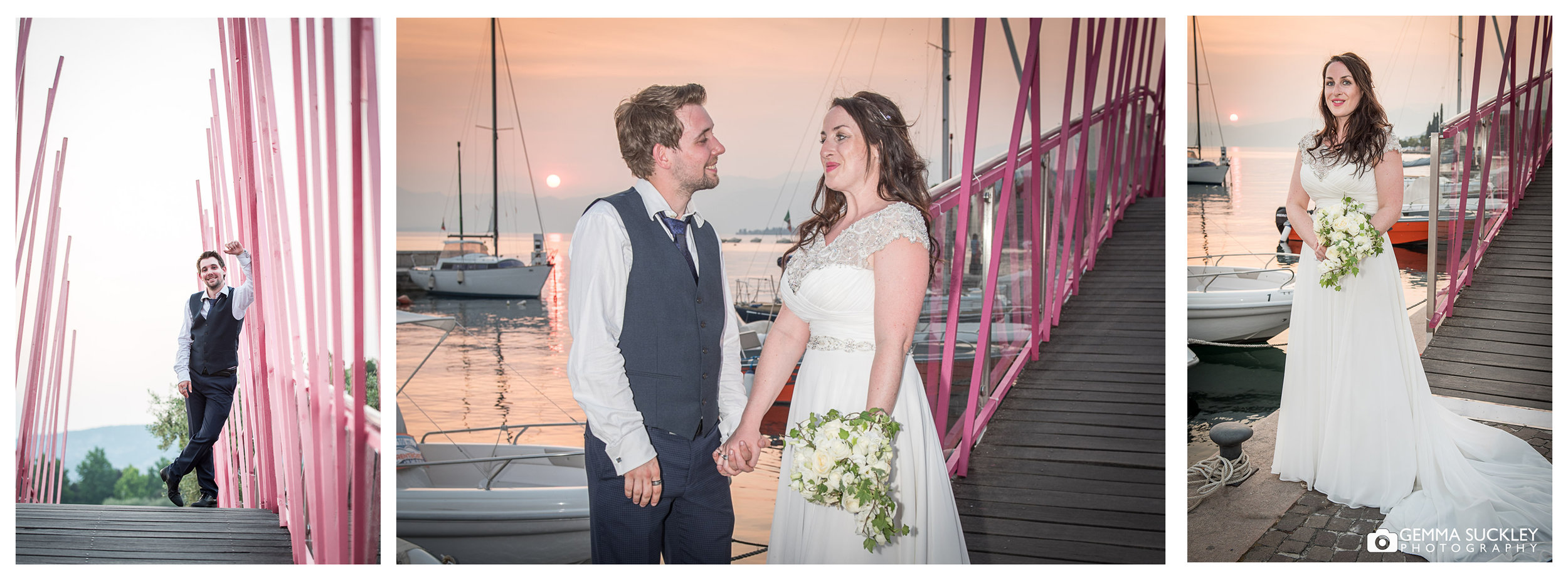 bride and groom smile as the sun sets on Lake Garda