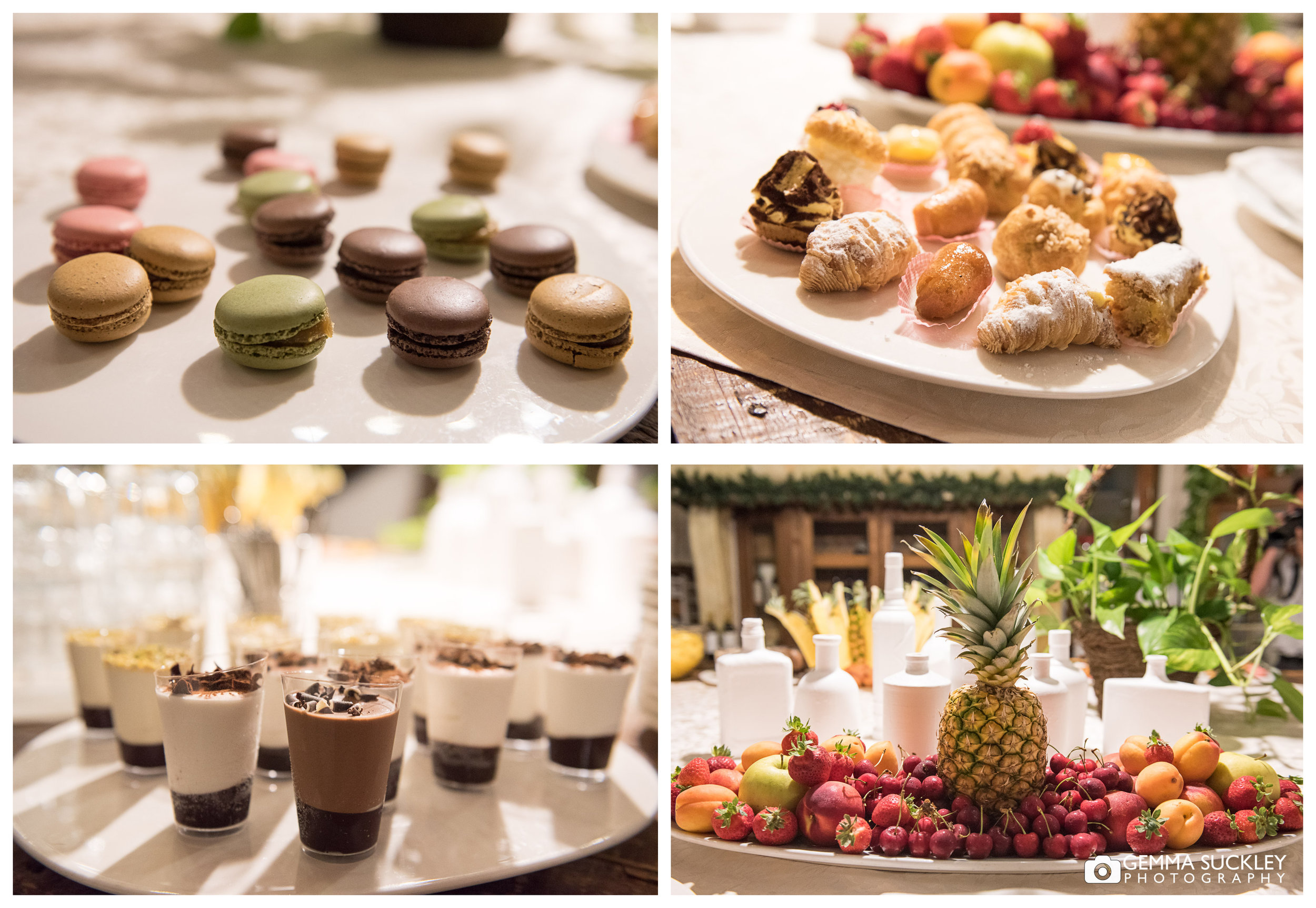 A selection of wedding desserts