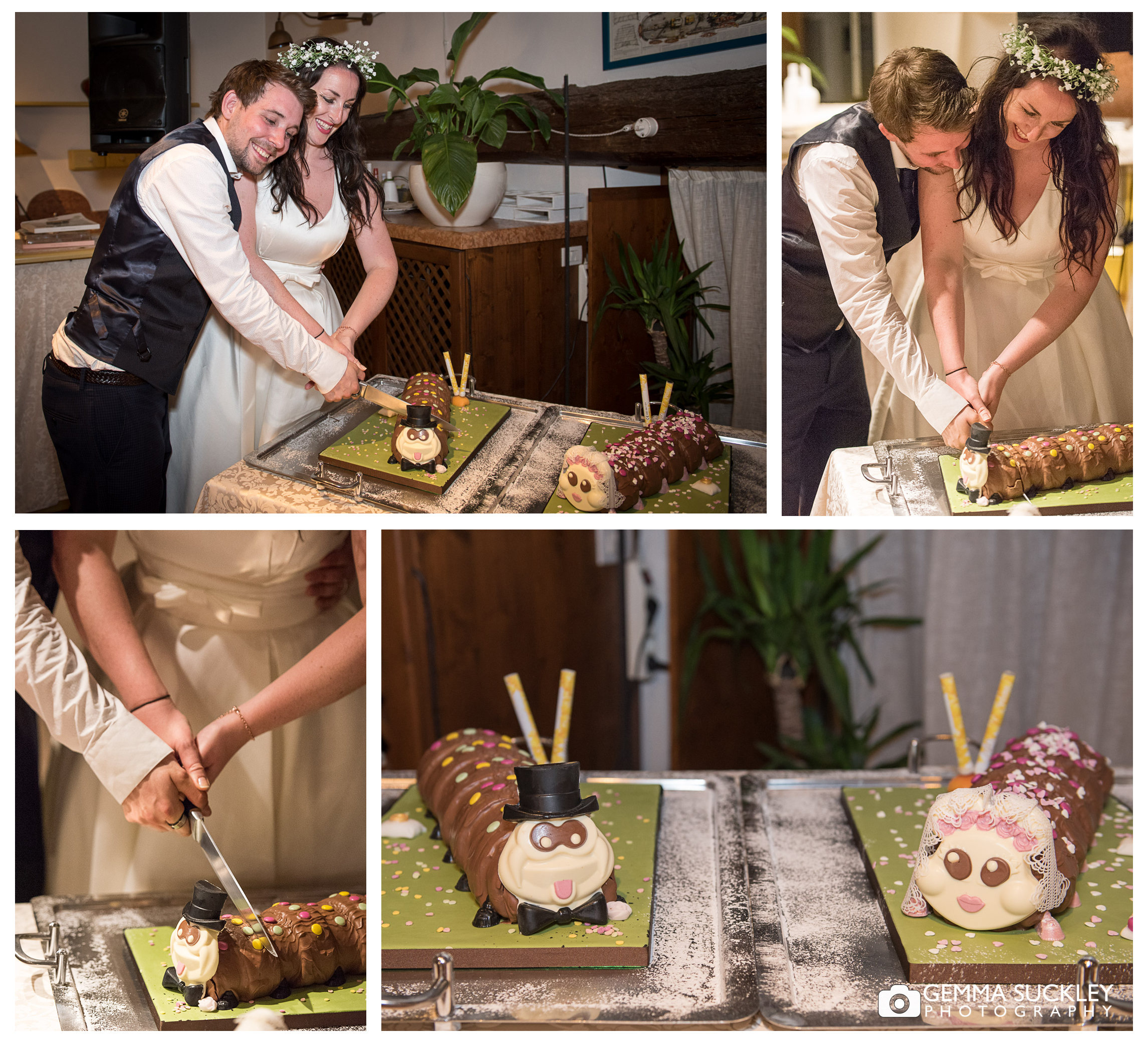 Bride and Groom cutting their marks and spencer's caterpillar cake