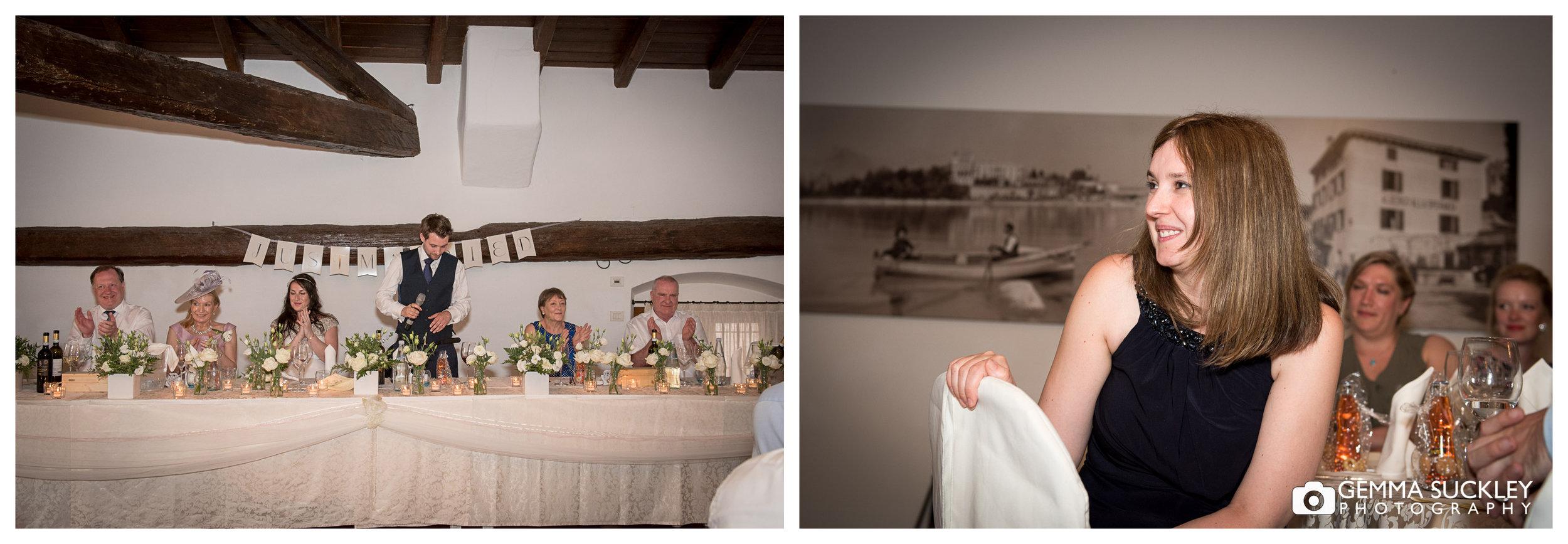 The groom making his speech during his wedding in Lake Garda