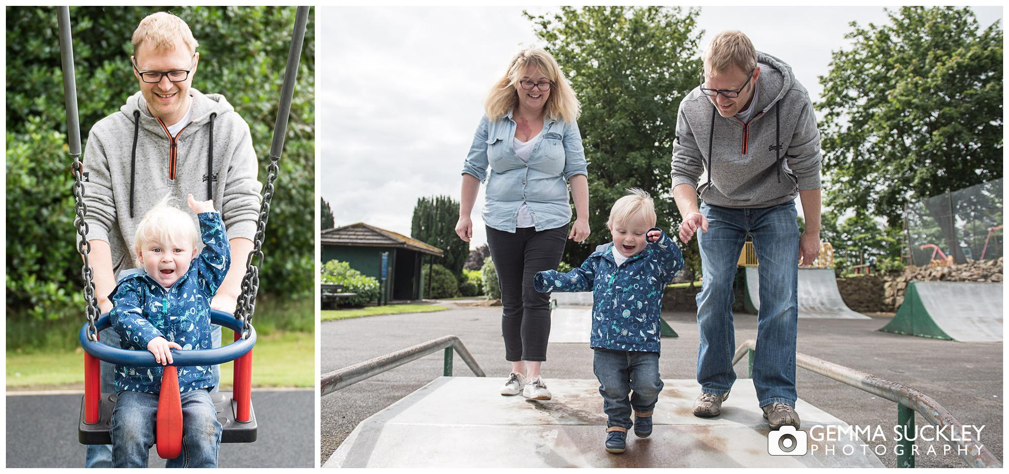 family in Glusburn Park during a photo shoot