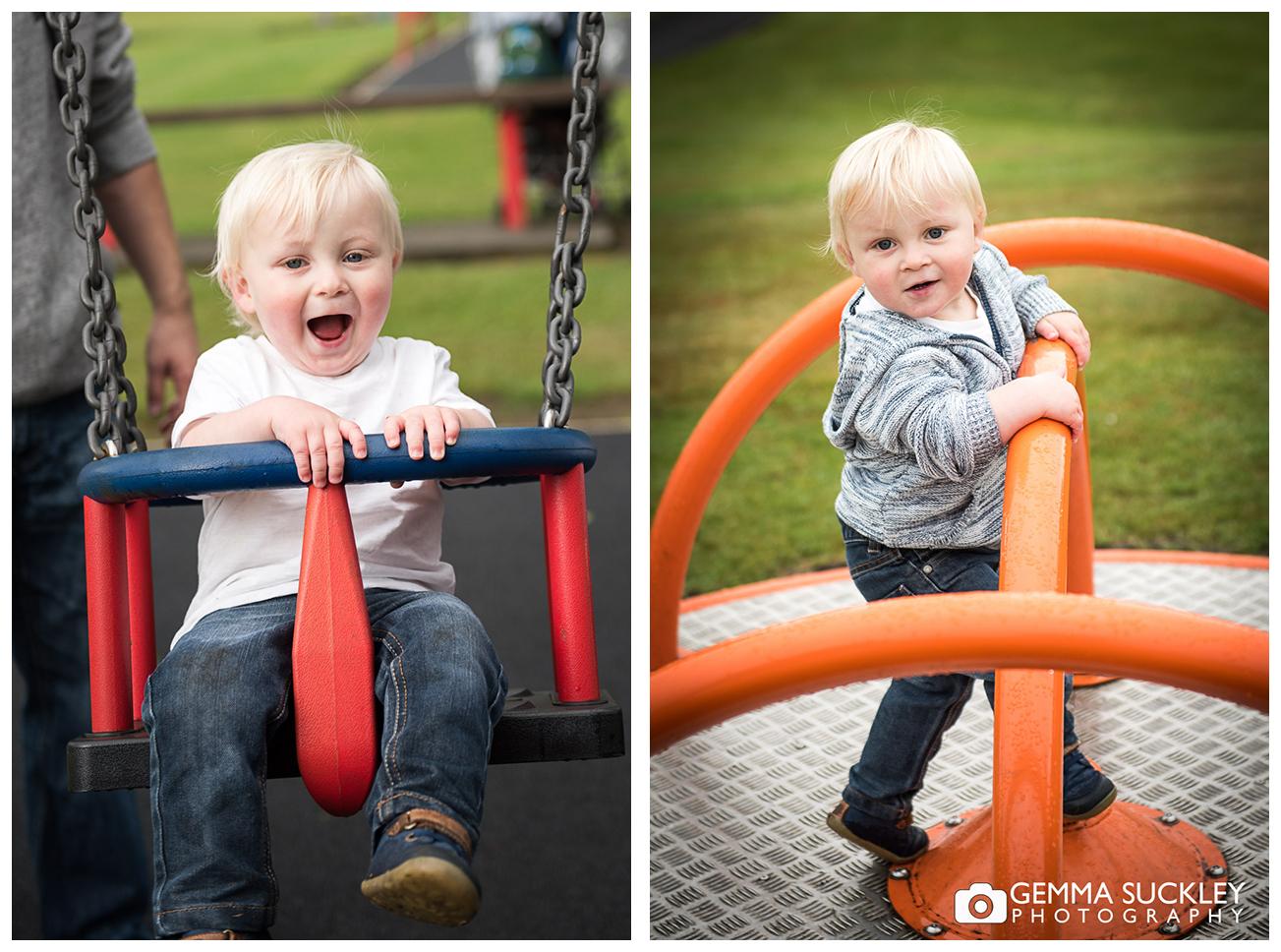 little boy playing in Glusburn Park