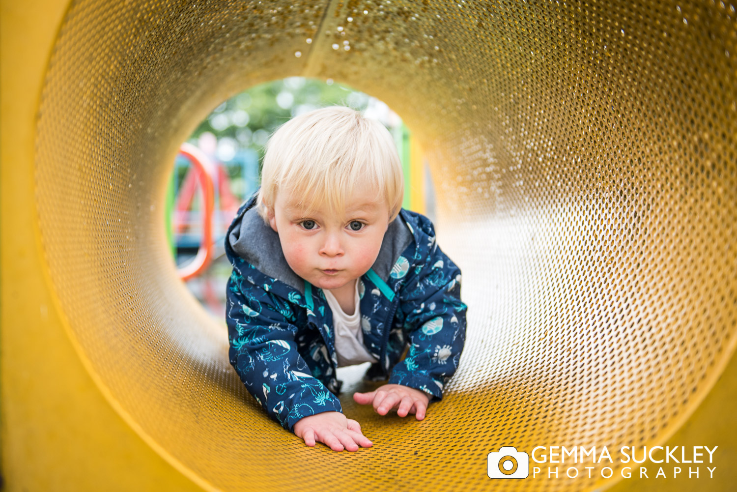 baby boy in the Glusburn park during north Yorkshire photo shoot