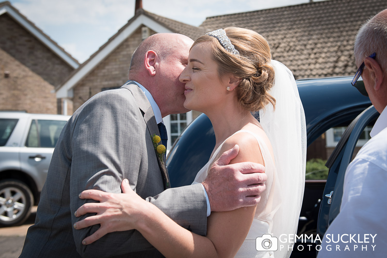 bride with her dad before her wedding in Driffield