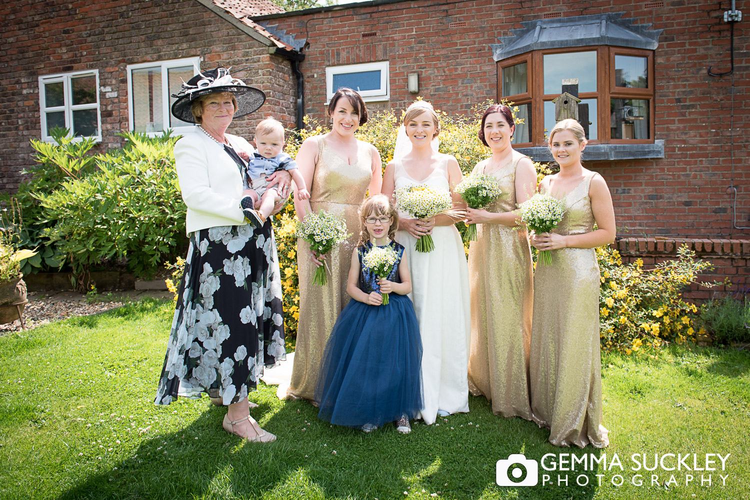 bride with her bridesmaids before her wedding at Oaklands, East Yorkshire