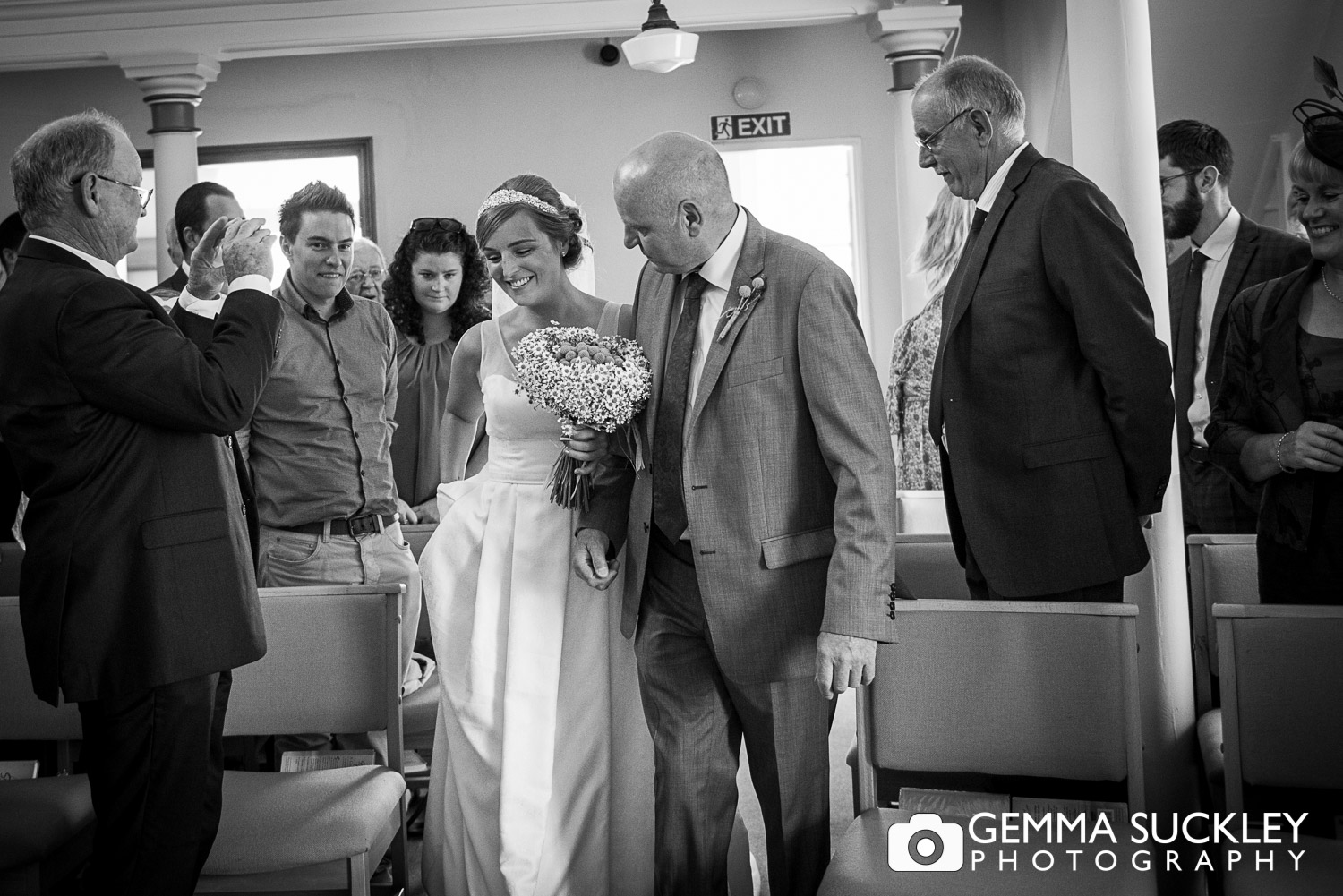 Bride and her father walking down the aisle in Driffield