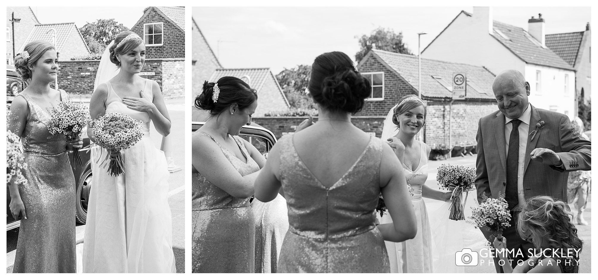 Bride and her bridesmaids outside the church in Driffield
