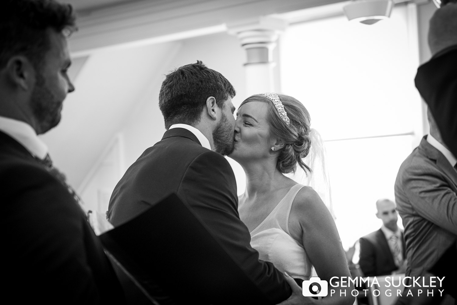 Bride and Groom kissing during the ceremony in Driffield church