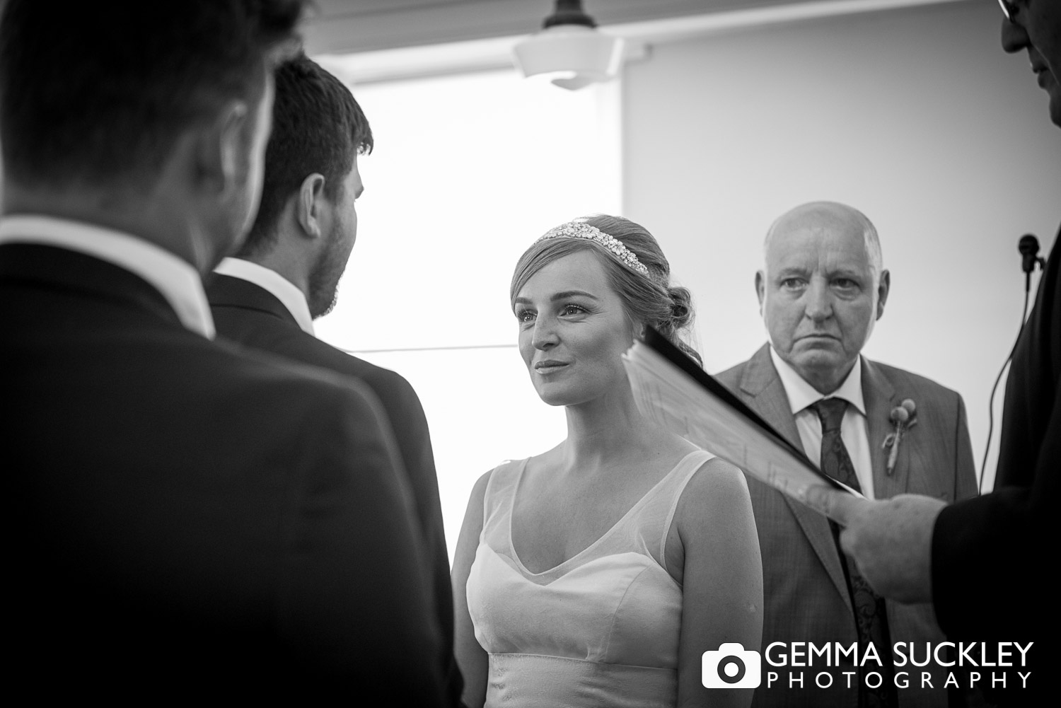bride and groom saying their vows at a wedding in East Yorkshire