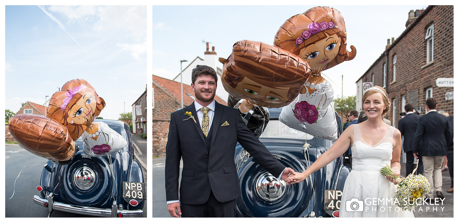 bride and groom posing for a wedding photo in Driffield