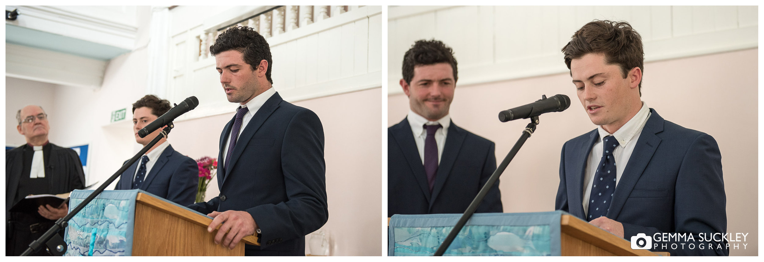 grooms brothers doing a reading during the wedding in east Yorkshire
