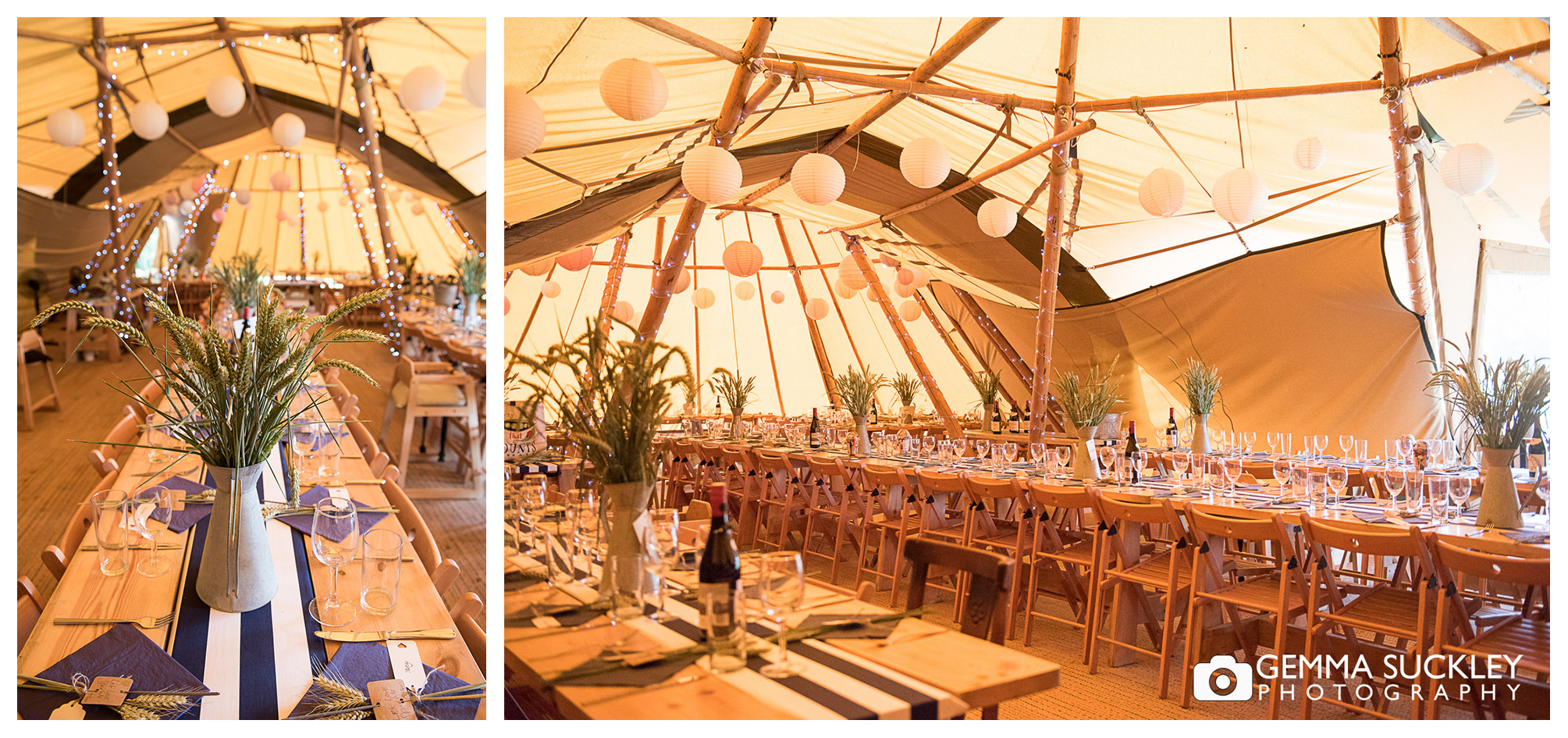 inside of the tipi at Oaklands, east Yorkshire, decorated for a wedding