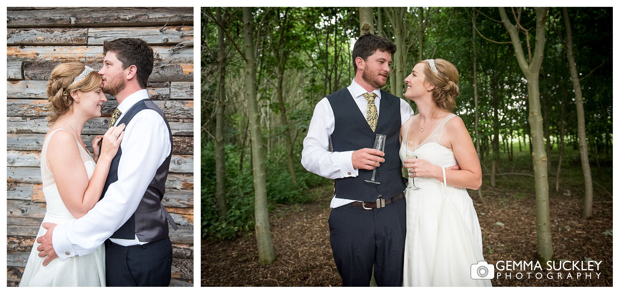 bride and and groom at Oaklands wedding