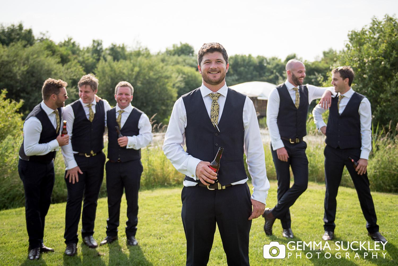 Groom and groomsmen at Oaklands wedding