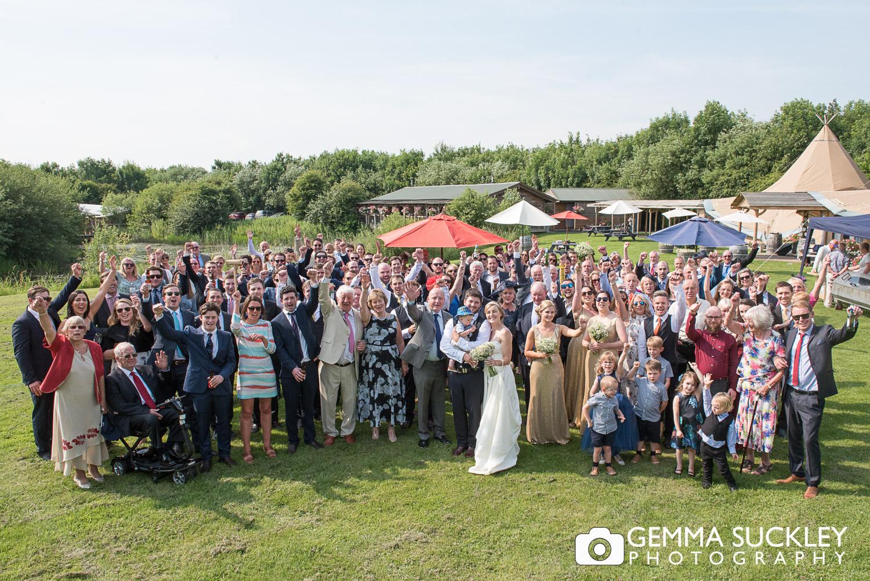 wedding group photo at Oaklands wedding venue, East Yorkshire