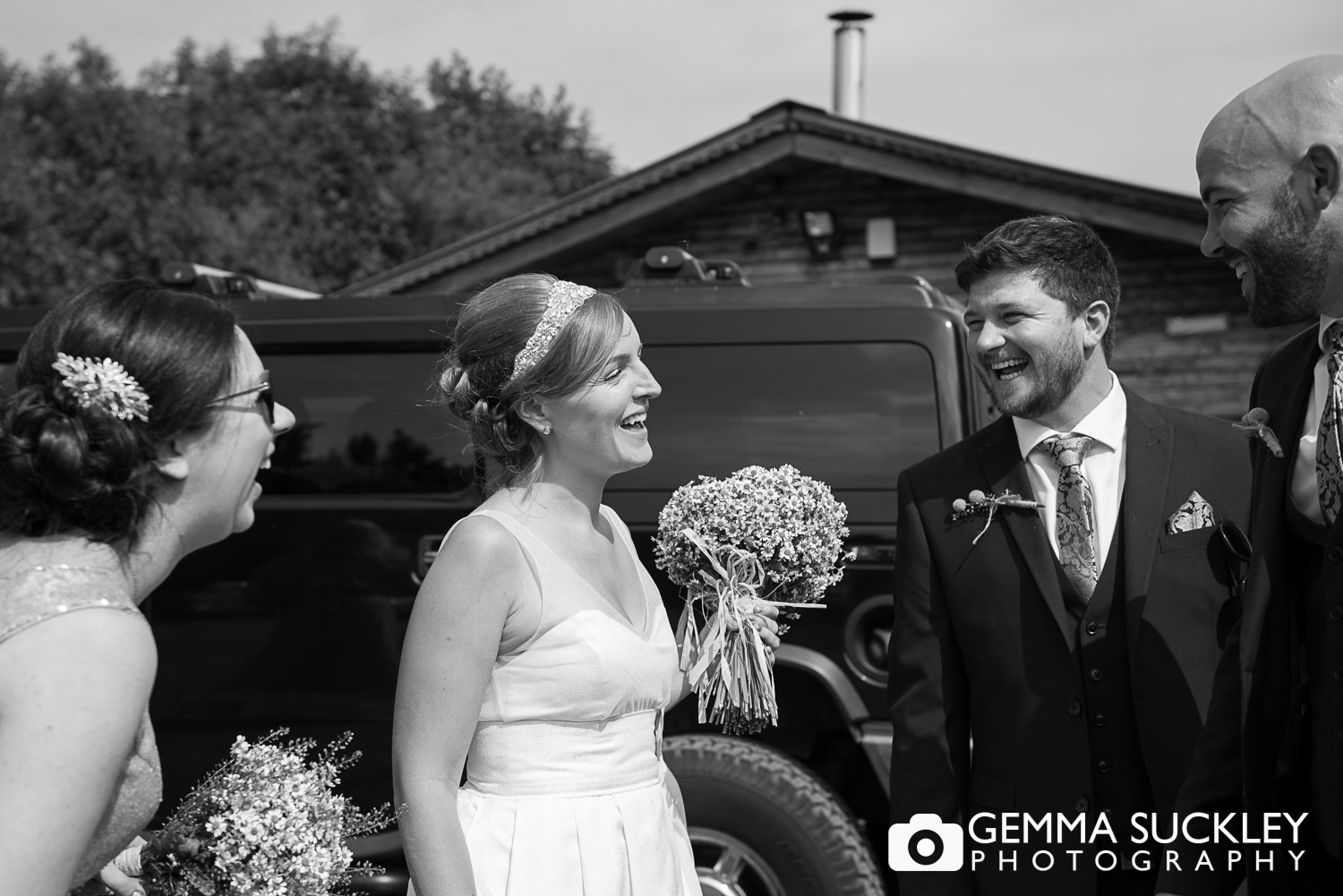 bride and groom arriving at their wedding at Oaklands, driffield