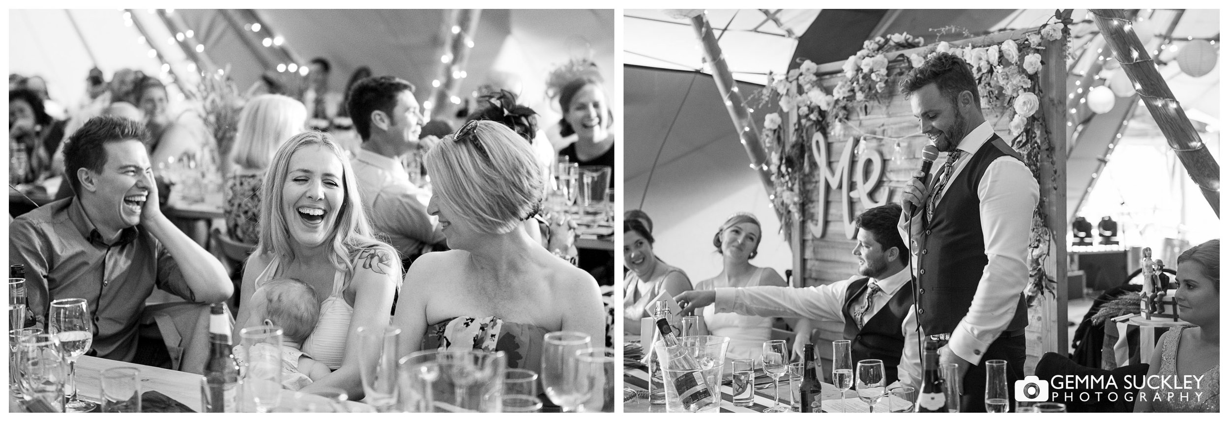 wedding guest laughing at speeches at oakland wedding venue