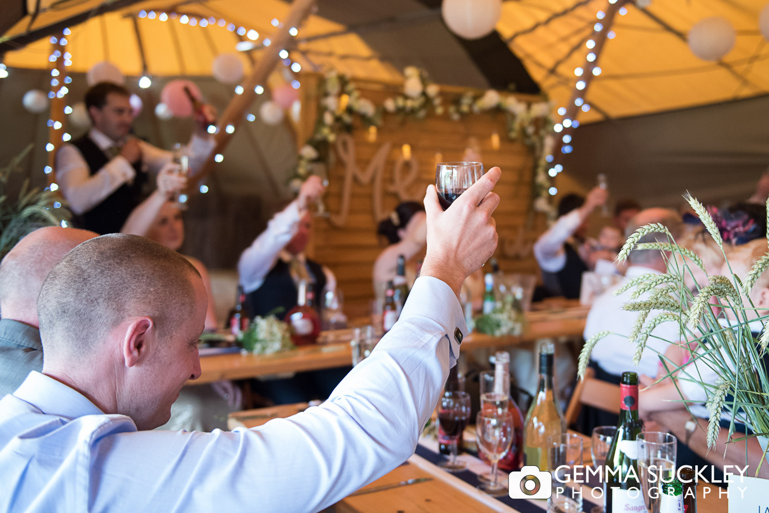 wedding guests during speeches at Oaklands in East Yorkshire