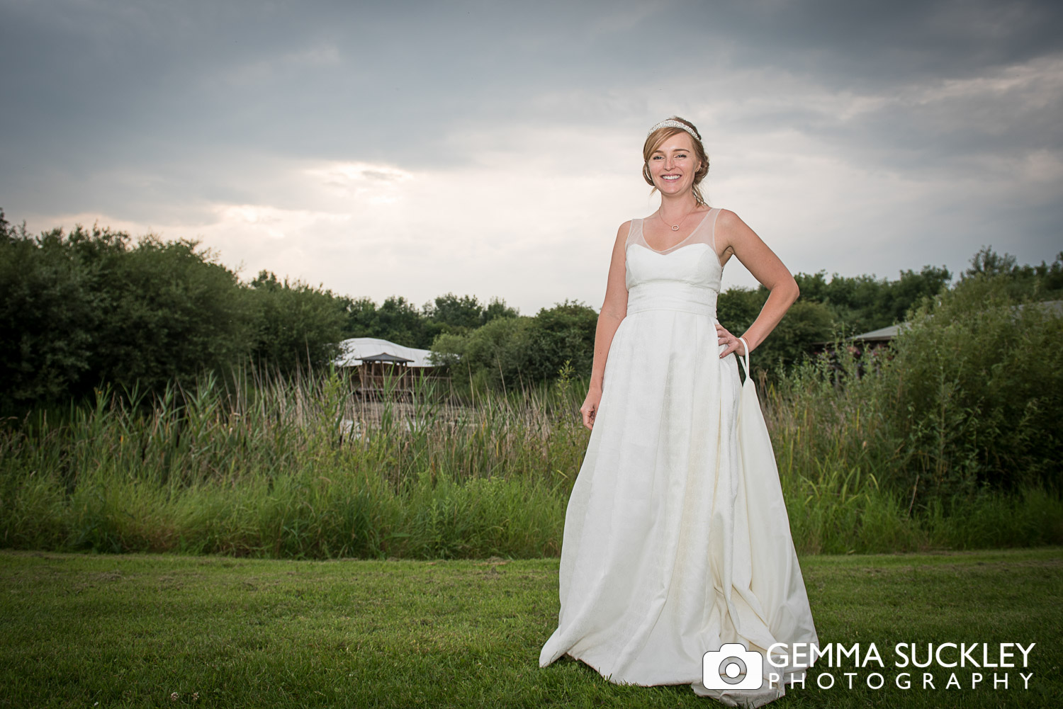 bride smiling as the sun sets at Oaklands in East Yorkshire
