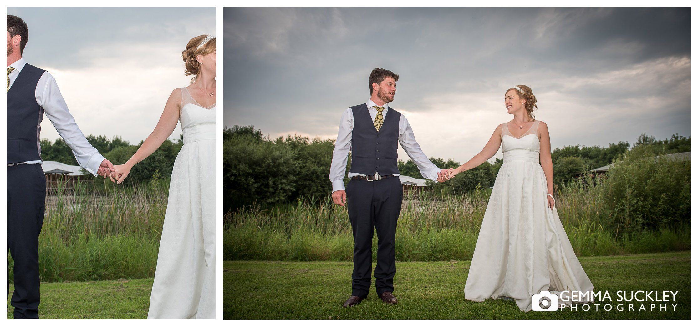 wedding photo of the bride and groom at Oaklands in East Yorkshire