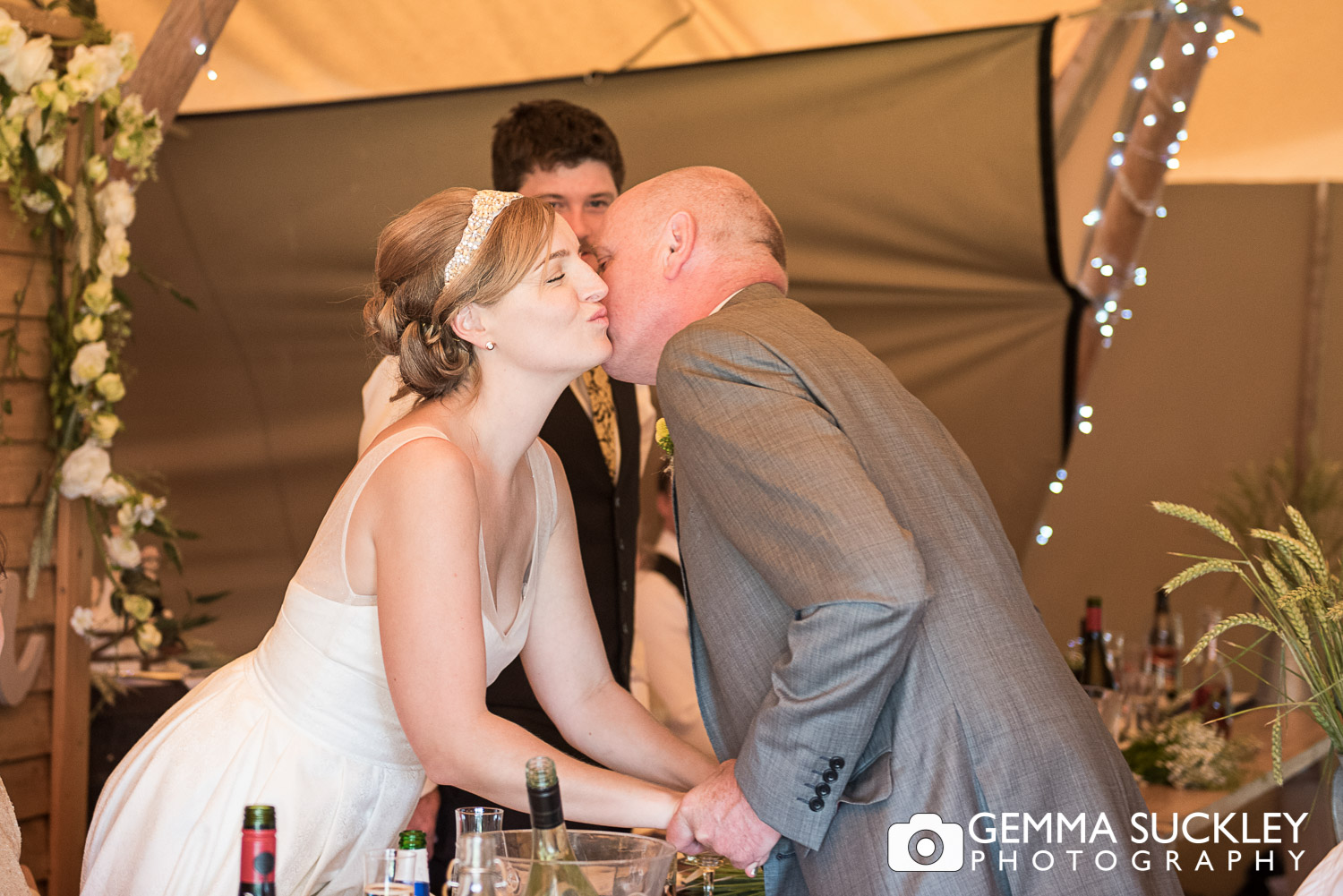 father of the bride kissing his daughter, Oaklands wedding venue