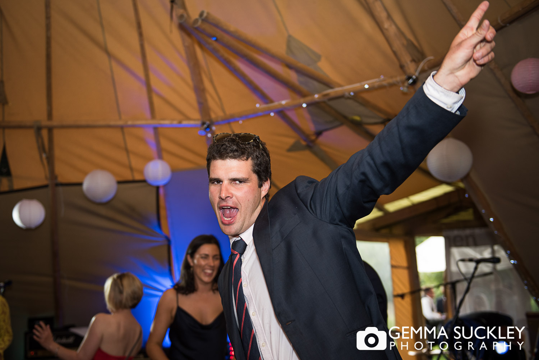 wedding guest dancing at Oaklands, East Yorkshire