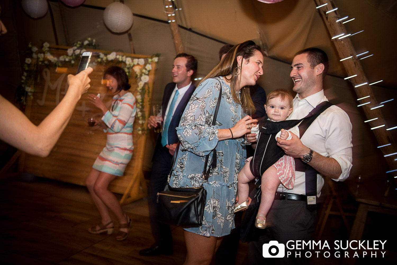 wedding guests dancing at Oaklands, East Yorkshire