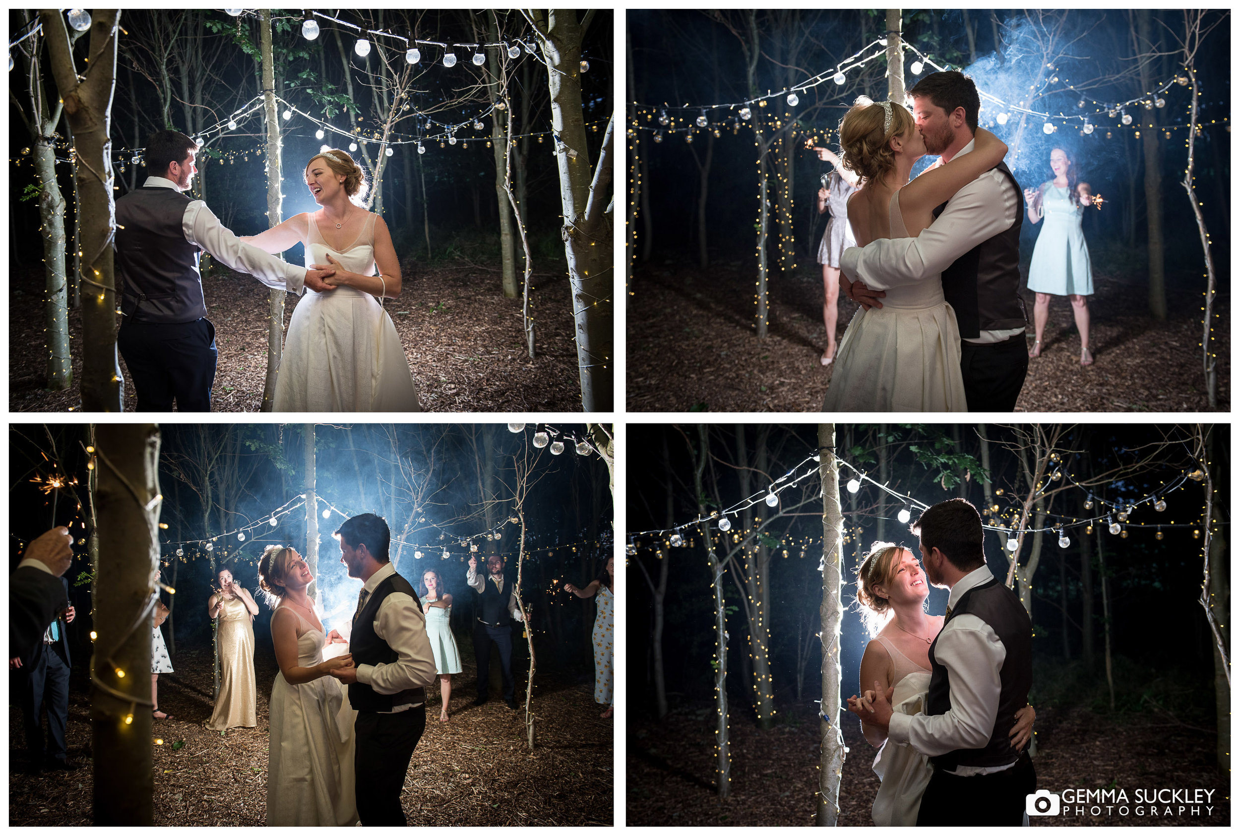 bride and groom dancing in the woodland at Oaklands, Driffield