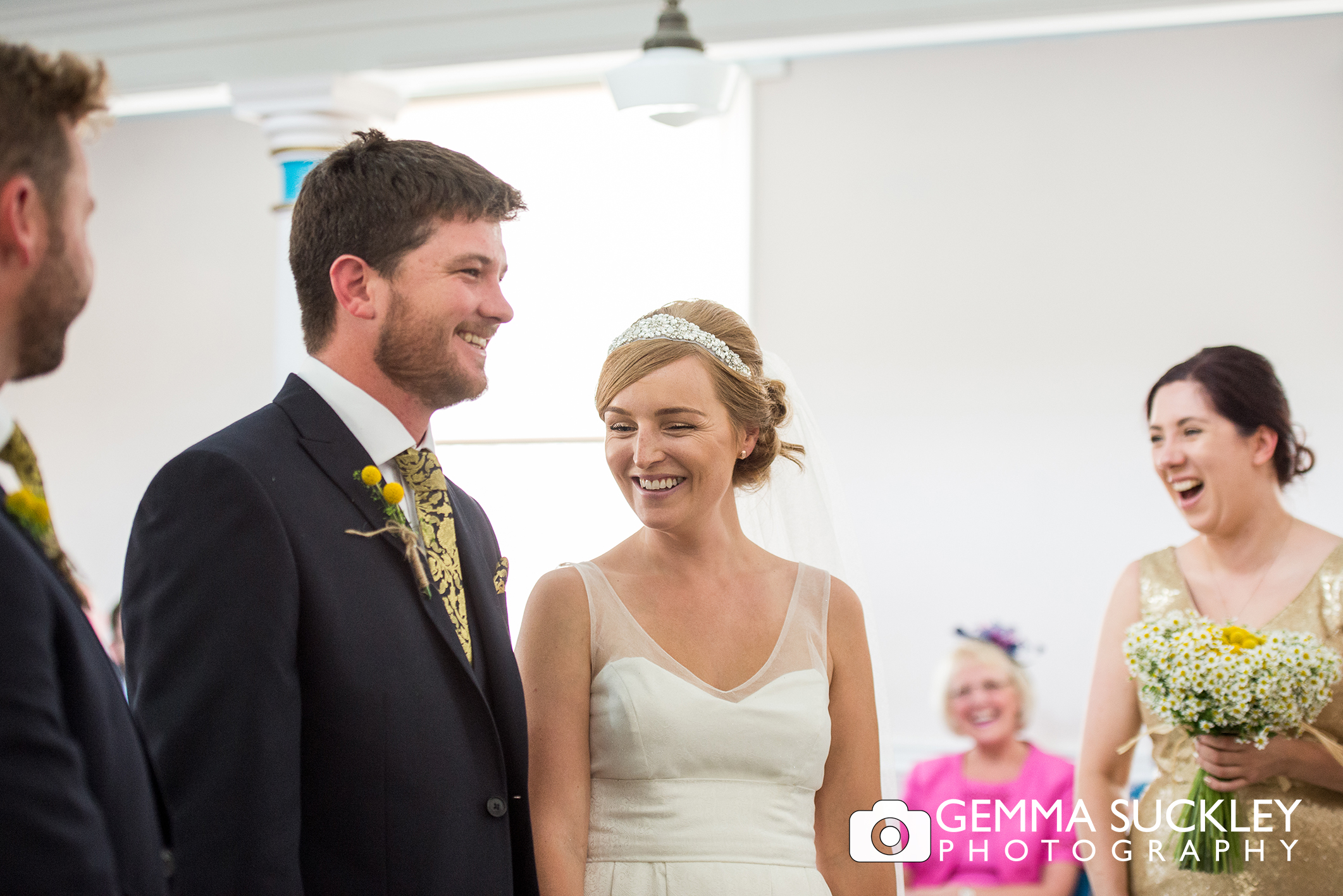 bride and groom during wedding ceremony in driffield church