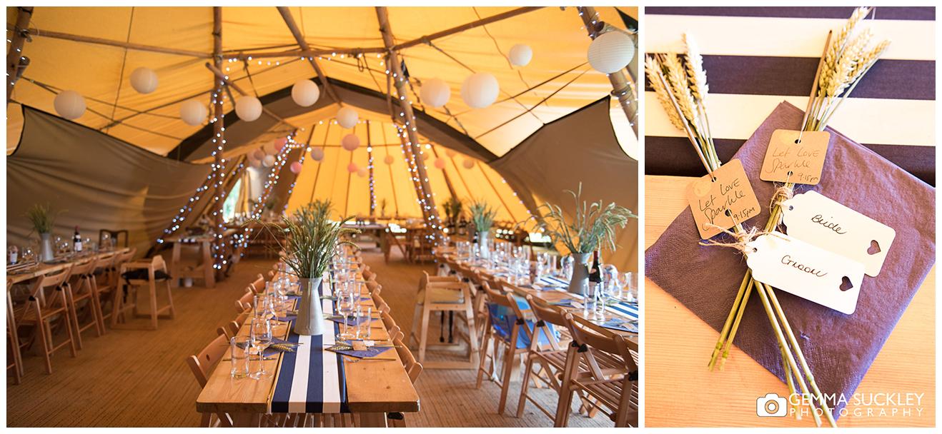 table detail at tipi wedding