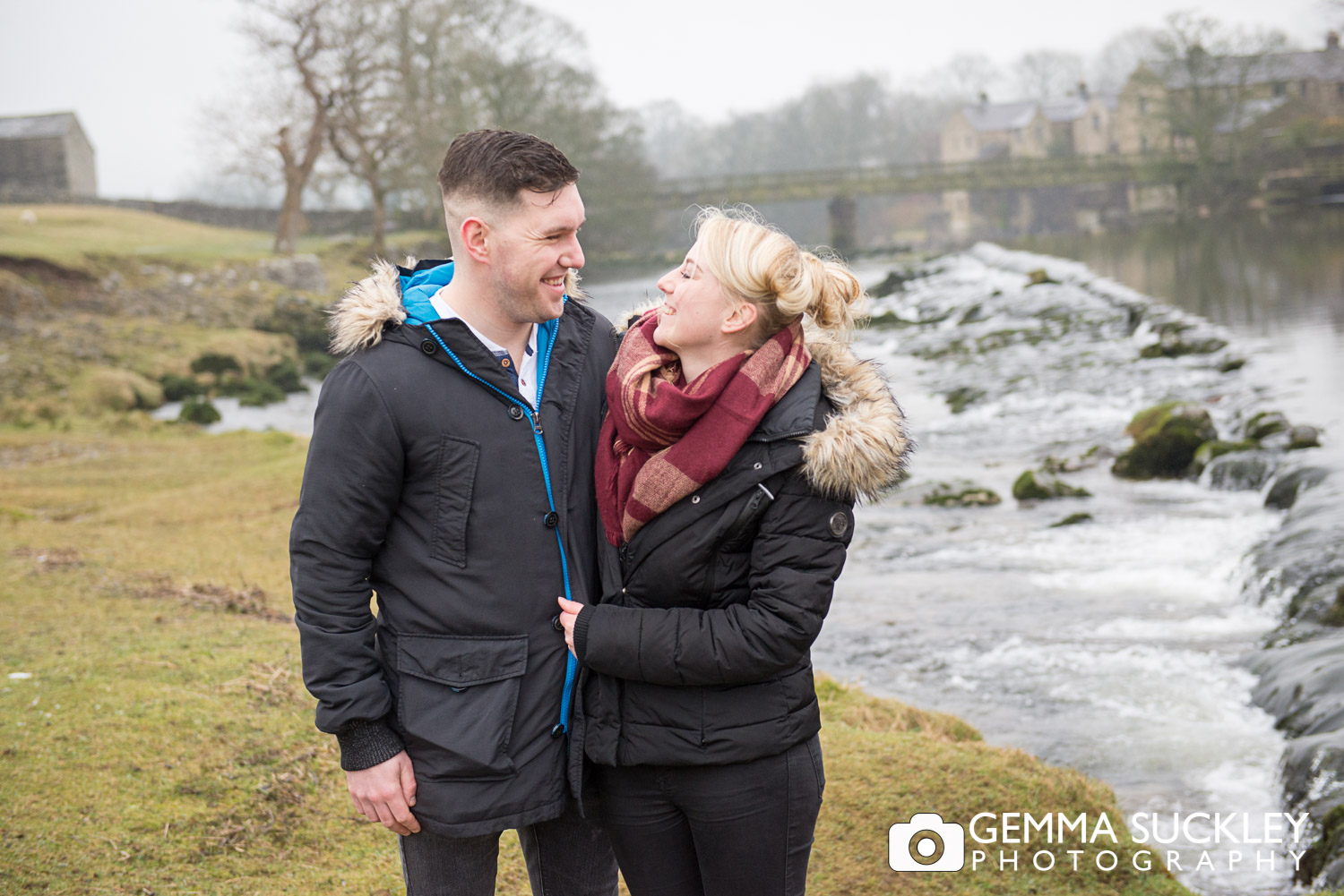 Couple smiling during their pre-wedding shoot at Linton Falls